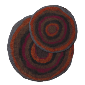 KARMA CAT Felted Wool Agate Mat, Red