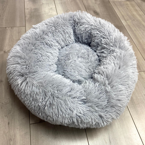 SNUG Fluffy Donut Bed, Light Grey 50cm