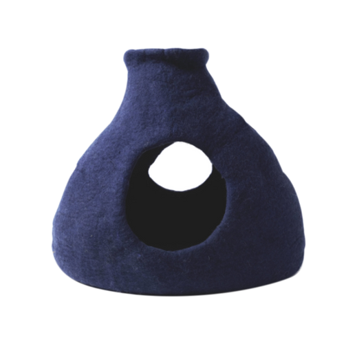 KARMA CAT Purr-a-Boo Wool Cave, Navy