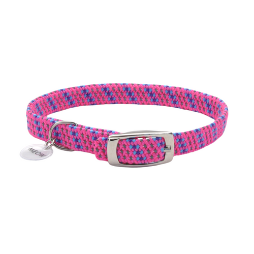 COASTAL ElastaCat Reflective Safety Stretch Collar, bright pink