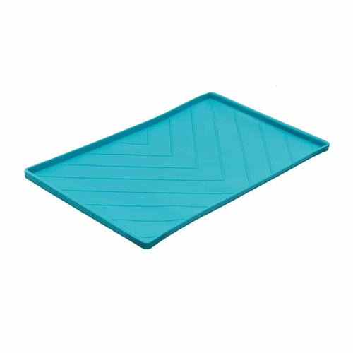 MESSY CATS Silicone Feeding Mat w/Metal Rods, blue