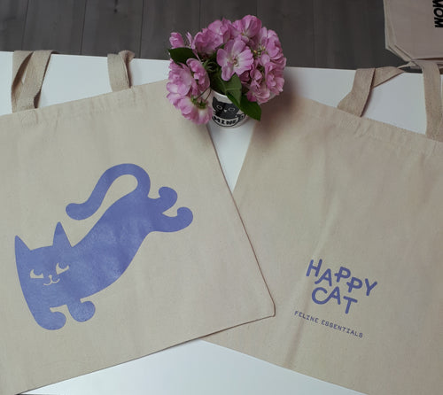 HAPPY CAT FELINE ESSENTIALS Double-Sided Logo Canvas Tote Bag