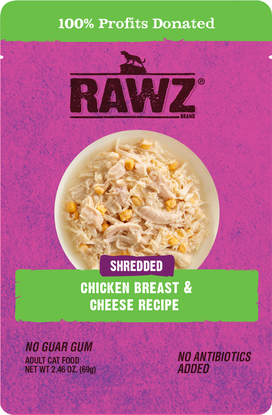 RAWZ Shredded Chicken Breast & Cheese Recipe, 69g pouch