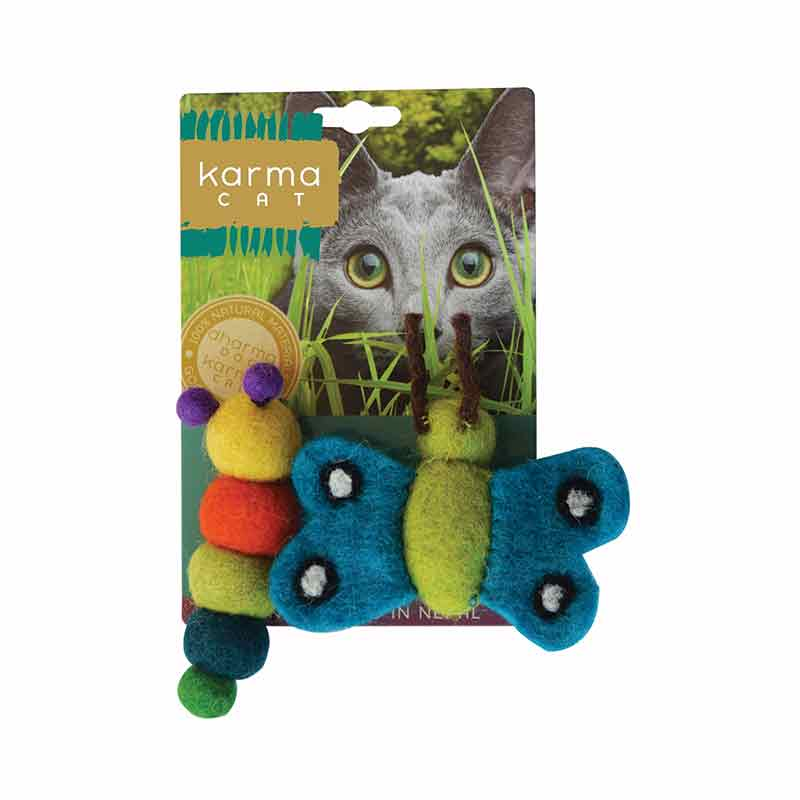 KARMA CAT Felted Wool Caterpillar & Butterfly Toy, 2pk