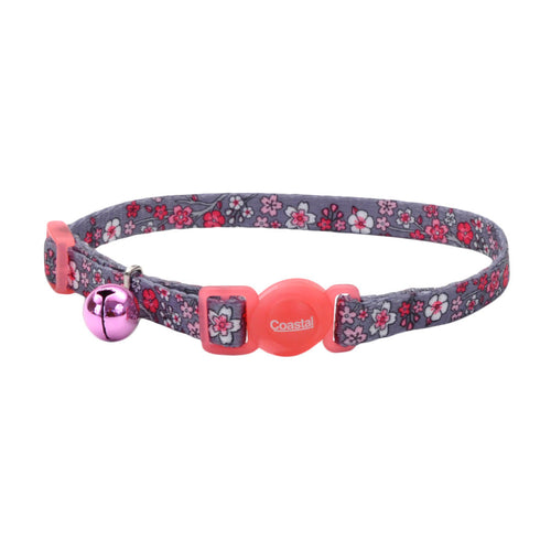COASTAL Safe Cat Fashion Adjustable Breakaway Collar, Pink Cherry Blossoms