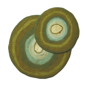 KARMA CAT Felted Wool Agate Mat Green, Small