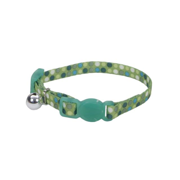 COASTAL Li'l Pals Adjustable Breakaway Kitten Collar, Green Dots