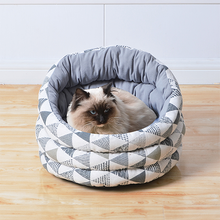 Load image into Gallery viewer, PETPALS Canvas Fleece Bed, Grey Triangles