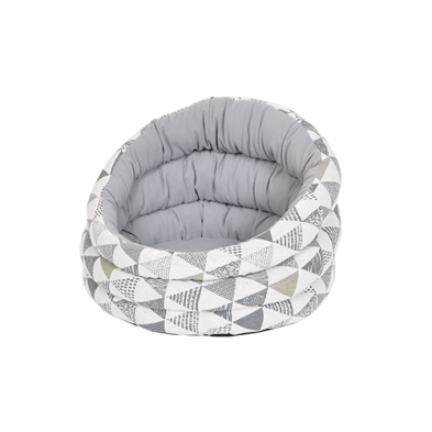 PETPALS Canvas Fleece Bed, Grey Triangles