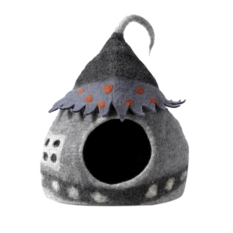 KARMA CAT Felted Wool Fairy House Cave, Grey