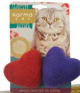 KARMA CAT Felted Wool Hearts Toy