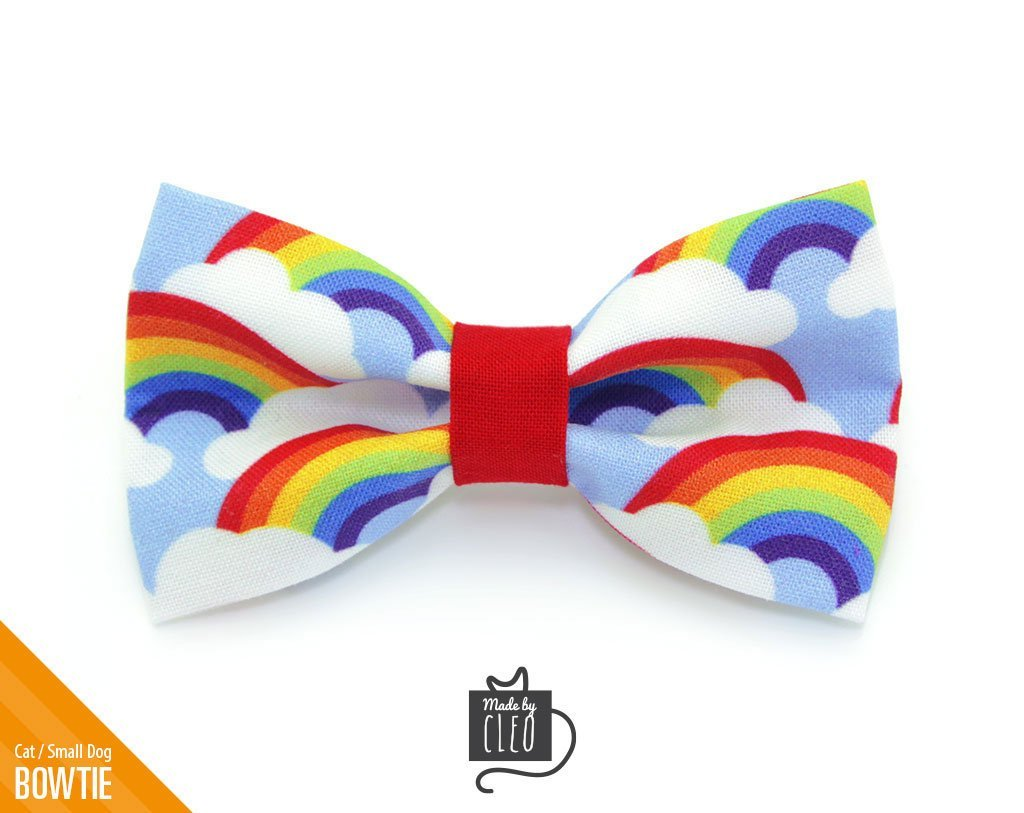 MADE BY CLEO Cat Bow Tie Rainbow Magic, one size
