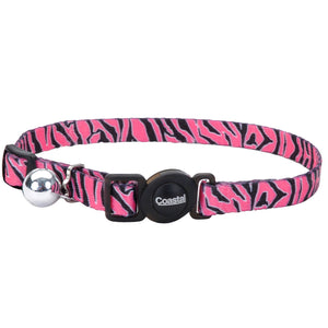 COASTAL SafeCat Fashion Adjustable Breakaway Collar, Pink Zebra