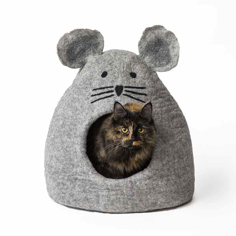 KARMA CAT Wool Cat Cave Mouse