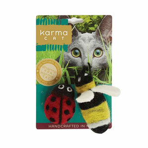 KARMA CAT Felted Wool Ladybug & Bee Toy, 2pk