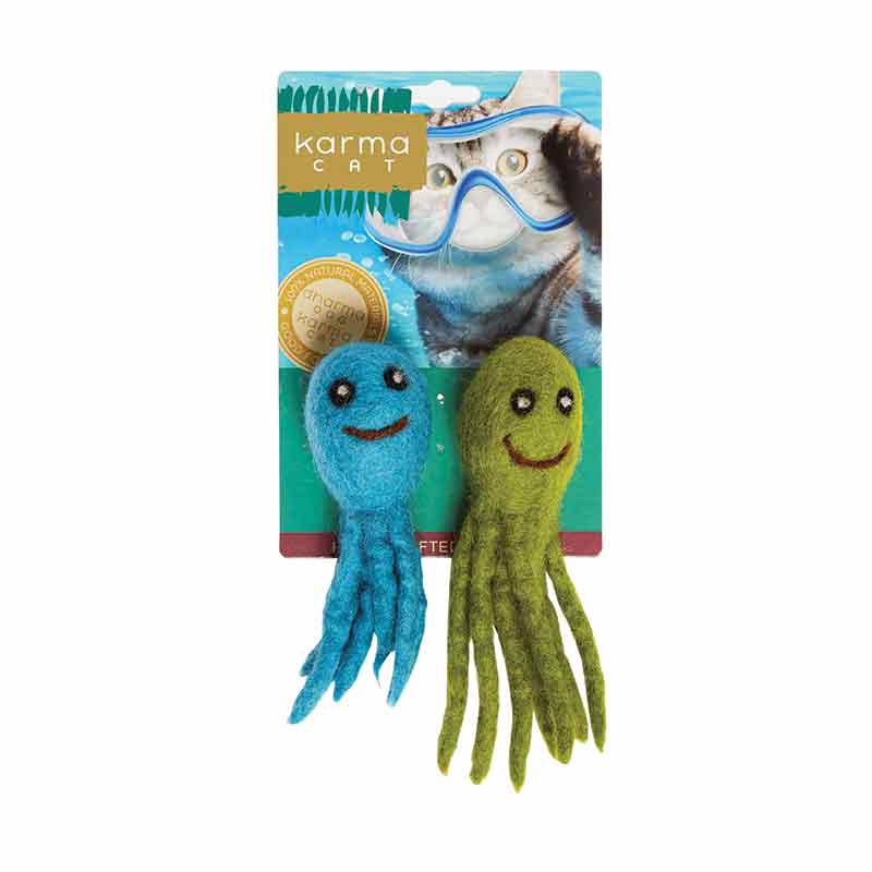 KARMA CAT Felted Wool Octopus Toy, 2pk