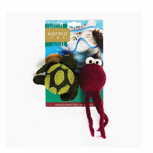 KARMA CAT Felted Wool Turtle & Jellyfish Toy, 2pk