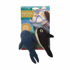 KARMA CAT Felted Wool Whale & Orca, 2pk