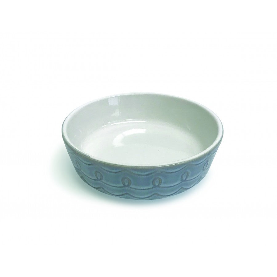 PIONEER PET Ceramic Food/Water Bowl, Loop/Grey