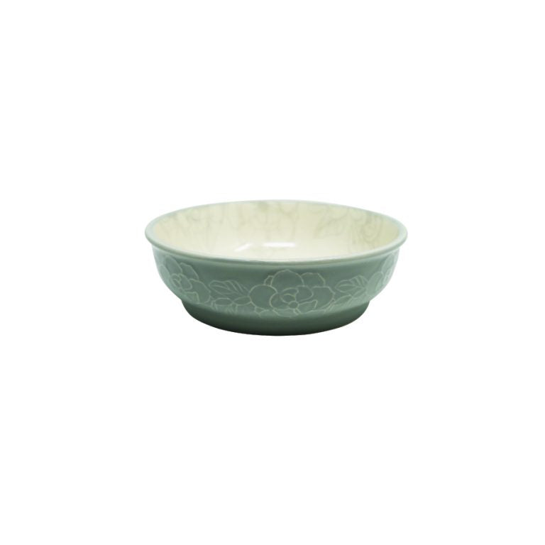 PIONEER PET Ceramic Food/Water Bowl, Magnolia Design/Grey