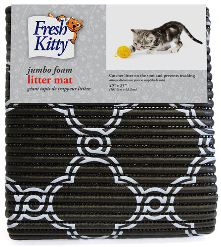 FRESH KITTY Foam Litter Mat Jumbo, black & white