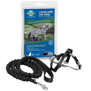 PETSAFE Come With Me Kitty Harness and Bungee Leash, Black Large