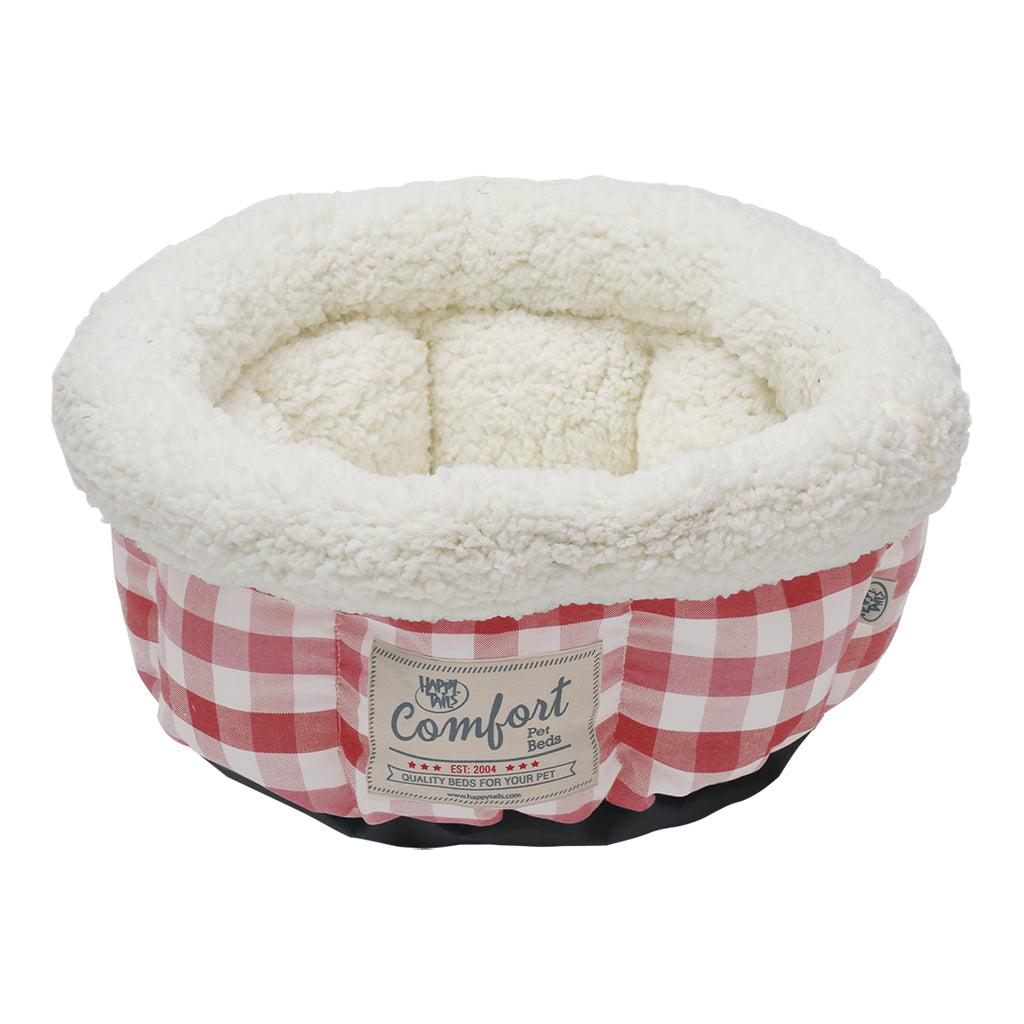 HAPPY TAILS Round Bed Cranberry Plaid, 15