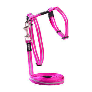 "ROGZ Alley Cat Reflective Harness & Leash 9""-16"", Pink"