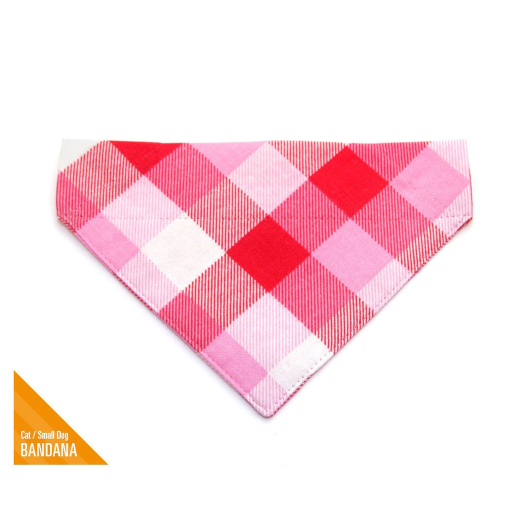 MADE BY CLEO Red & Pink Plaid Slide-On Bandana