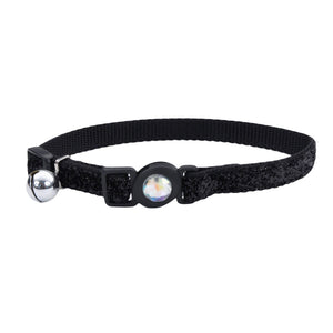 COASTAL SafeCat Jewel Buckle Adjustable Breakaway Collar w/Glitter Black