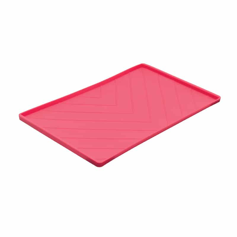 MESSY CATS Silicone Feeding Mat w/Metal Rods, red