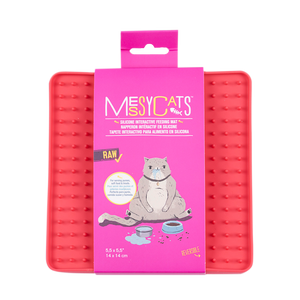 "MESSY CATS Silicone Reversible Interactive Feeding Mat 5½ X 5½"", Red"