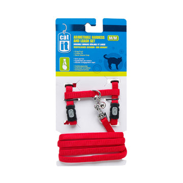 CATIT Adjustable Harness & Leash Set Red, Medium