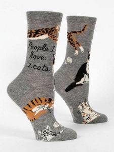 "BLUE Q Women's Crew Socks ""People I Love: Cats"""