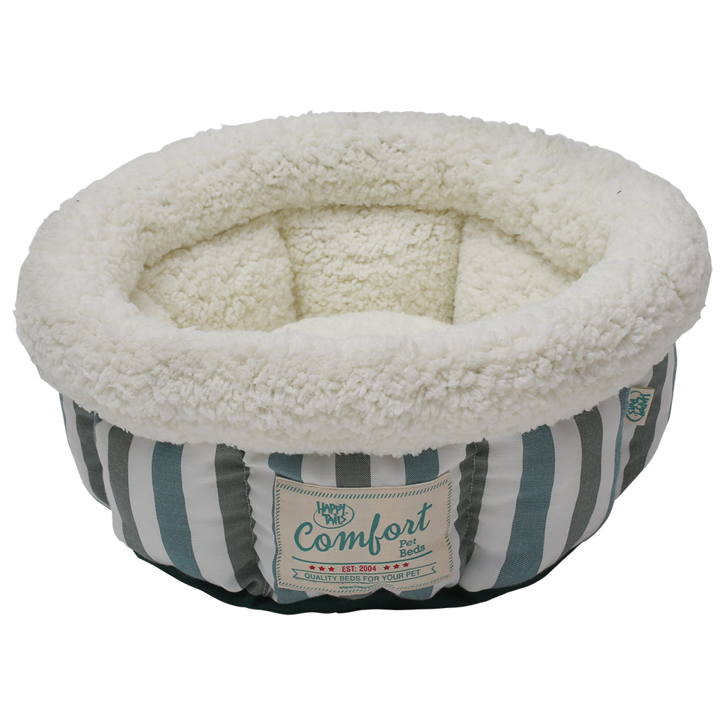 HAPPY TAILS Round Bed Turquoise & Grey Stripes, 15
