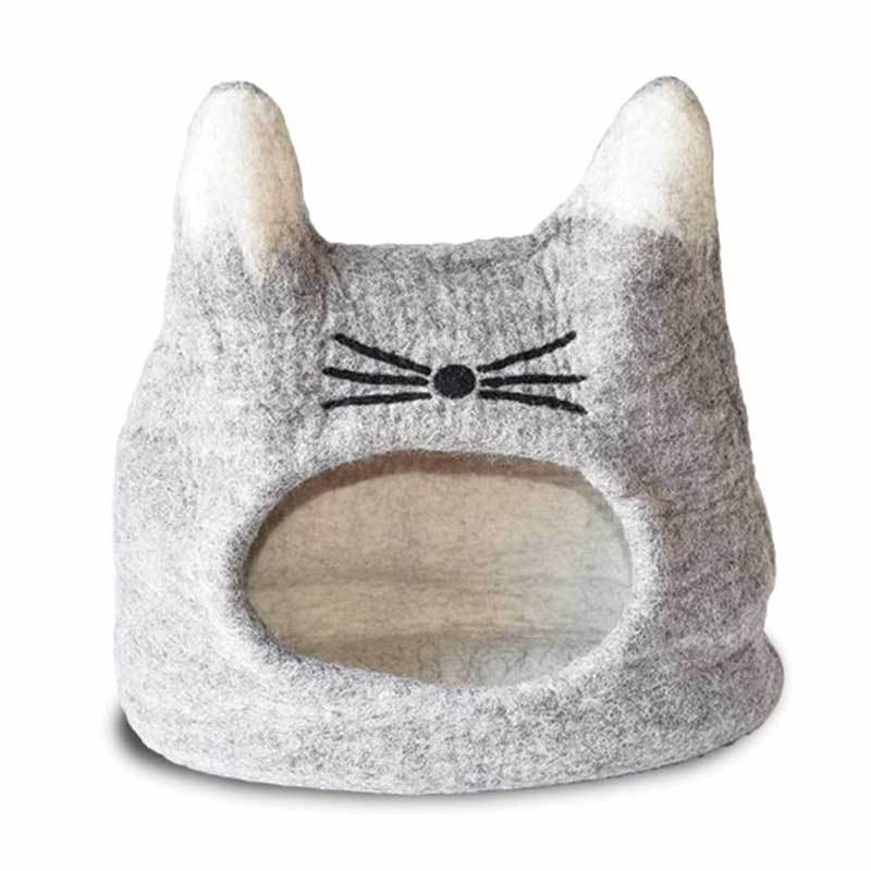 KARMA CATA Felted Wool Cat Face Cave