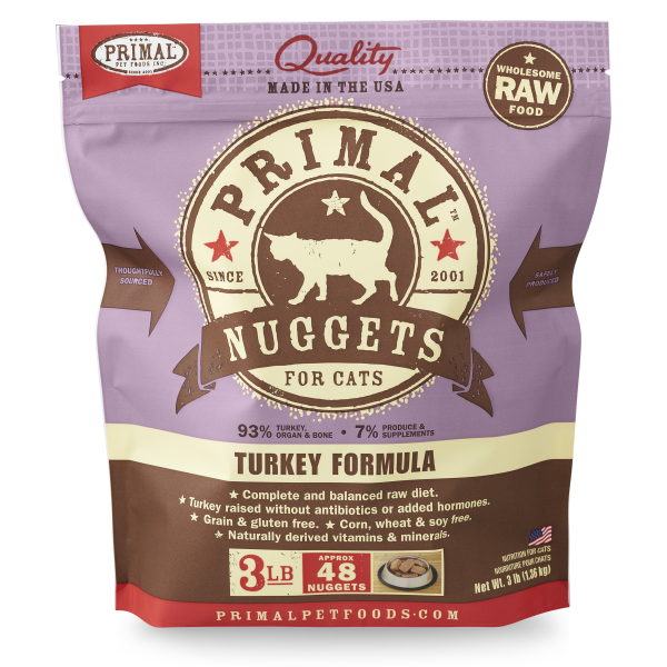 PRIMAL Frozen Raw Turkey Nuggets, 3lbs