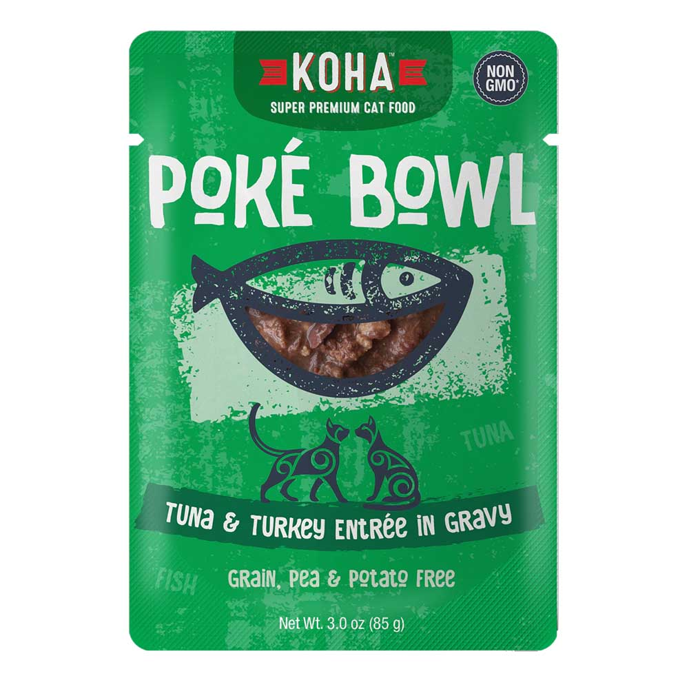 KOHA Poké Bowl Tuna & Turkey Entree in Gravy, 85g pouch
