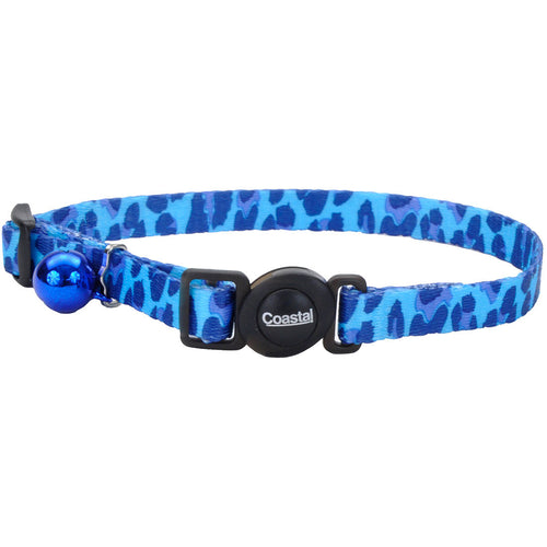 COASTAL SafeCat Fashion Adjustable Breakaway Collar, Blue Leopard