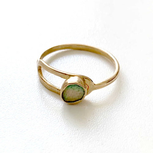 Gold Abalone Loop Ring