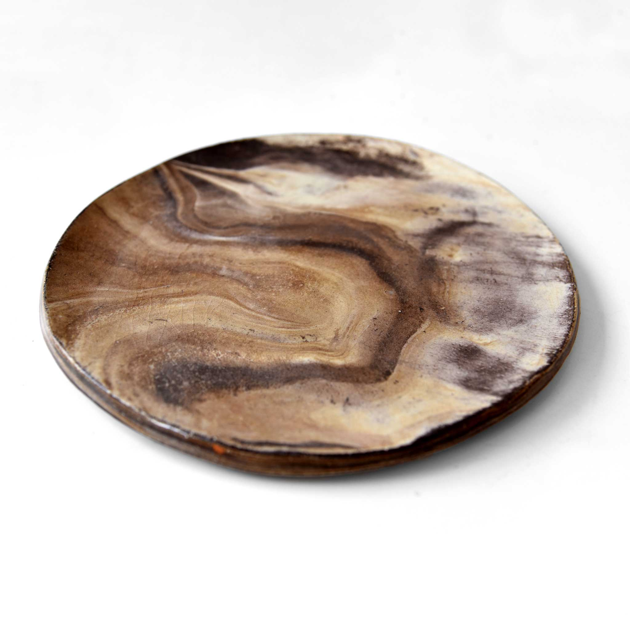 Medium Brown / Ivory Ceramic Plate