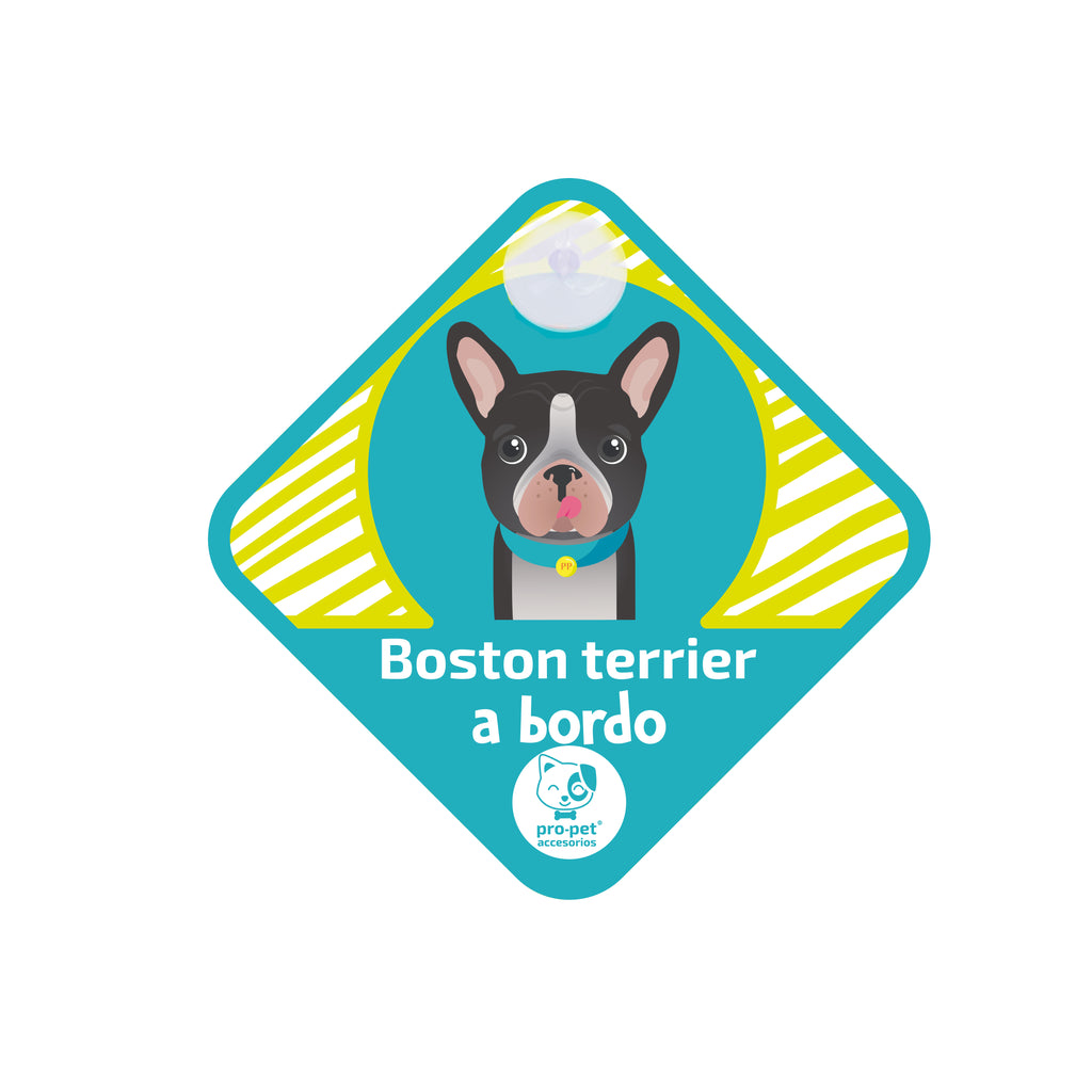Letrero a bordo diseño Boston Terrier