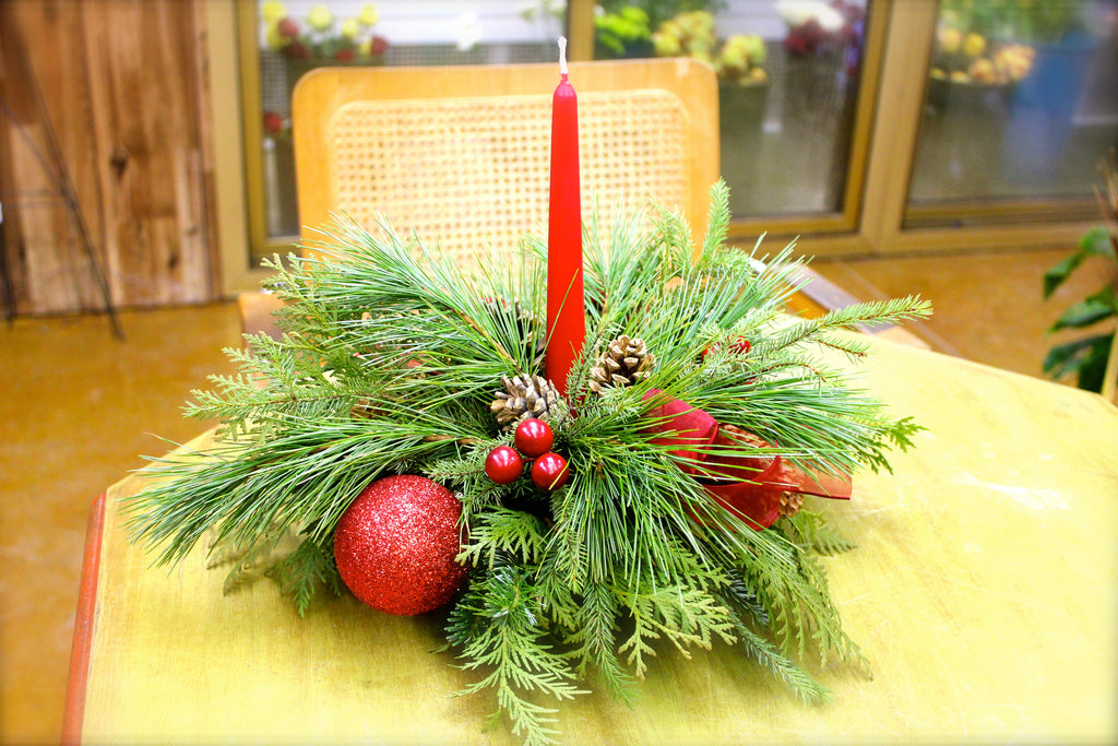 Round Holiday Candle Centerpiece