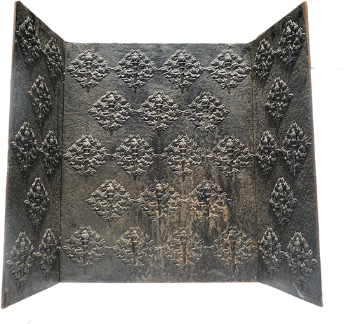 Antique Cast Iron Fireback with Torch Motif