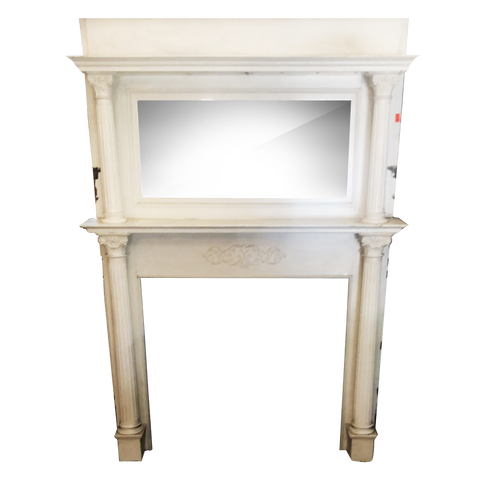 Double tier white painted mantel ornate