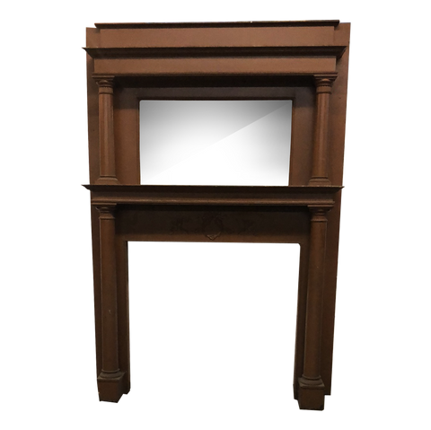 Double tier painted oak fireplace mantel with mirror