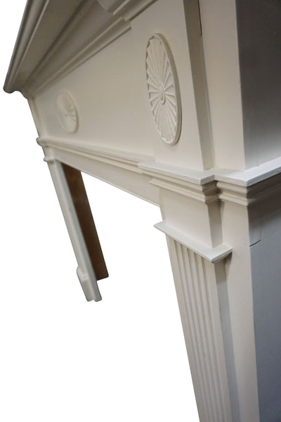 White Fluted Column Mantel with Medallion Motif