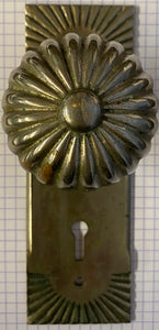 """Sunburst"" Antique Pair Door Knobs with Matching Backplates"