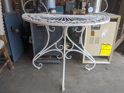 White, Metal Half Circle Table