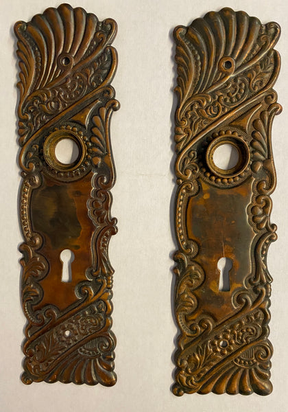 "Corbin ""Roanoke"" Pattern Bronze Knobs with Matching Backplates"